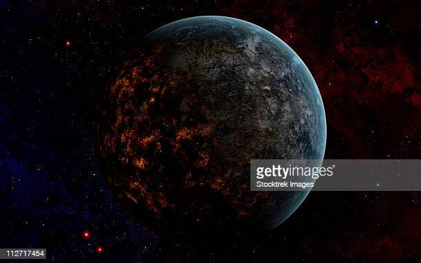 an extraterrestrial planet. while the dayside looks hospitable, the nightside reveals a hellish world of molten lava. - molten stock illustrations, clip art, cartoons, & icons