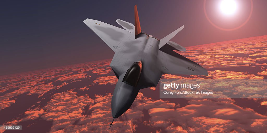 An F-22 fighter jet flies at an altitude above the cloud layer on its mission. : Stock Illustration