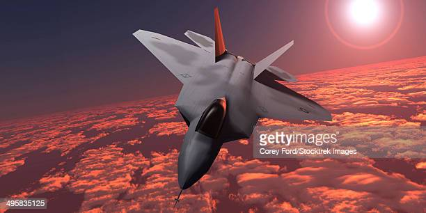 an f-22 fighter jet flies at an altitude above the cloud layer on its mission. - us air force stock illustrations, clip art, cartoons, & icons