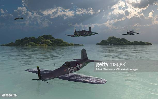 illustrations, cliparts, dessins animés et icônes de an f4u corsair passed over by members of its squadron as its forced to ditch in a lagoon. - catastrophe aérienne