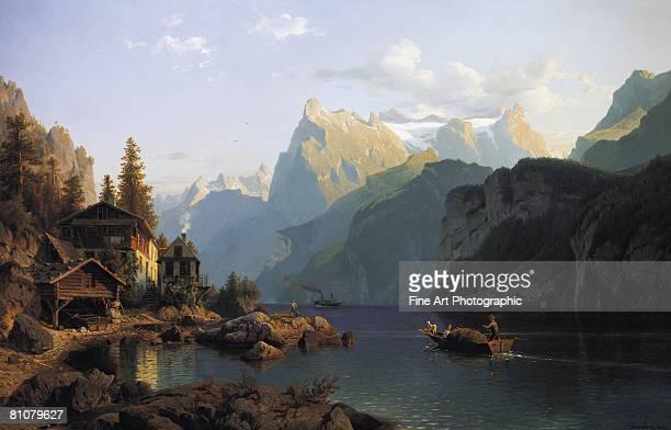an idyllic landscape, lake lucerne - 1850~1859年点のイラスト素材/クリップアート素材/マンガ素材/アイコン素材