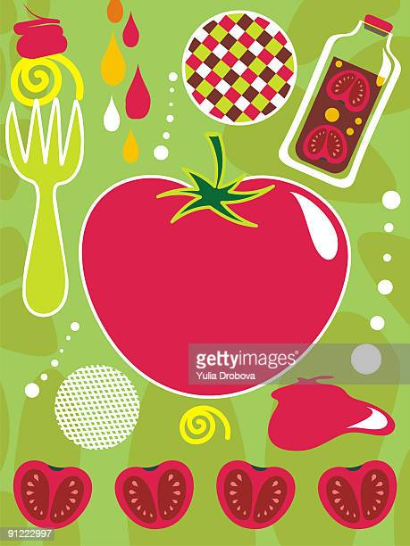 An illustration about tomatoes and ketchup