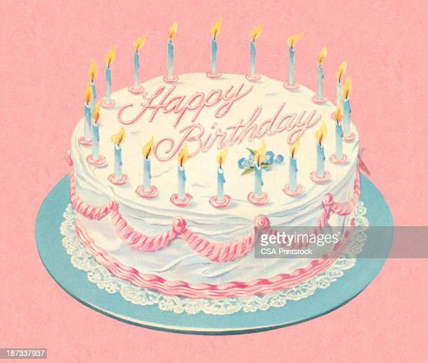 an illustration depicting a white cheerful birthday cake - birthday cake stock illustrations