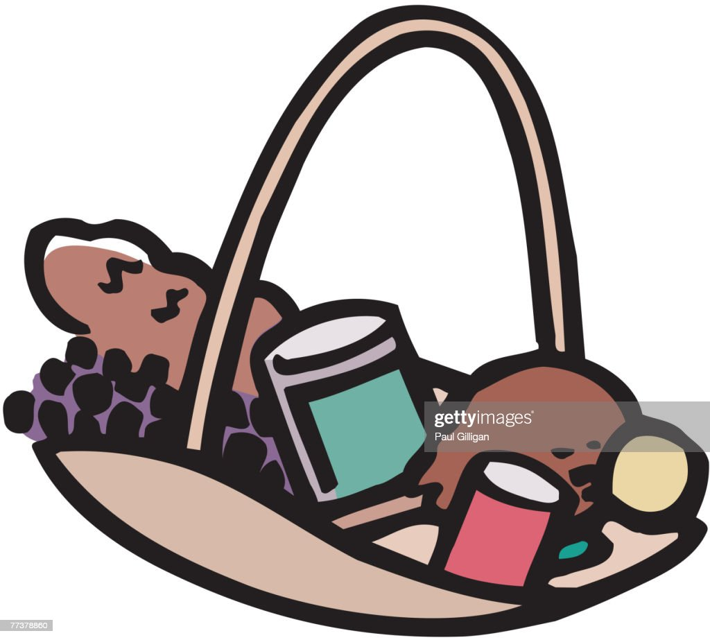 An illustration of a basket containing food : Stock Illustration