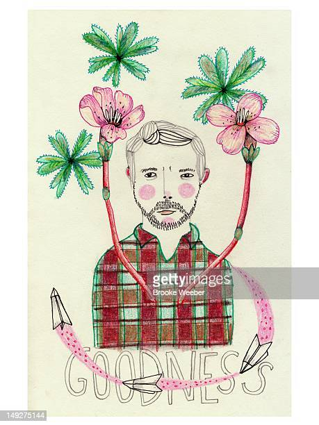 An illustration of a bearded man, flowers, and paper airplanes