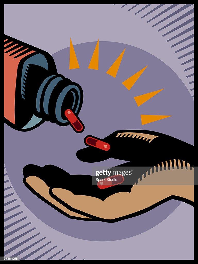 An illustration of a bottle of pills : Illustration