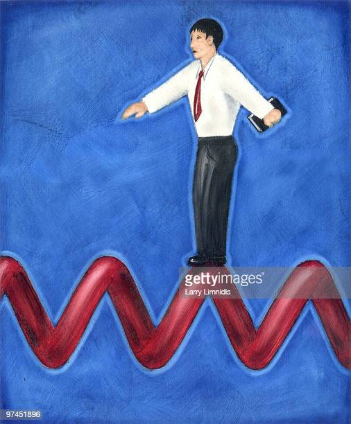 an illustration of a business man balancing on a jagged red line - phone cord stock illustrations, clip art, cartoons, & icons