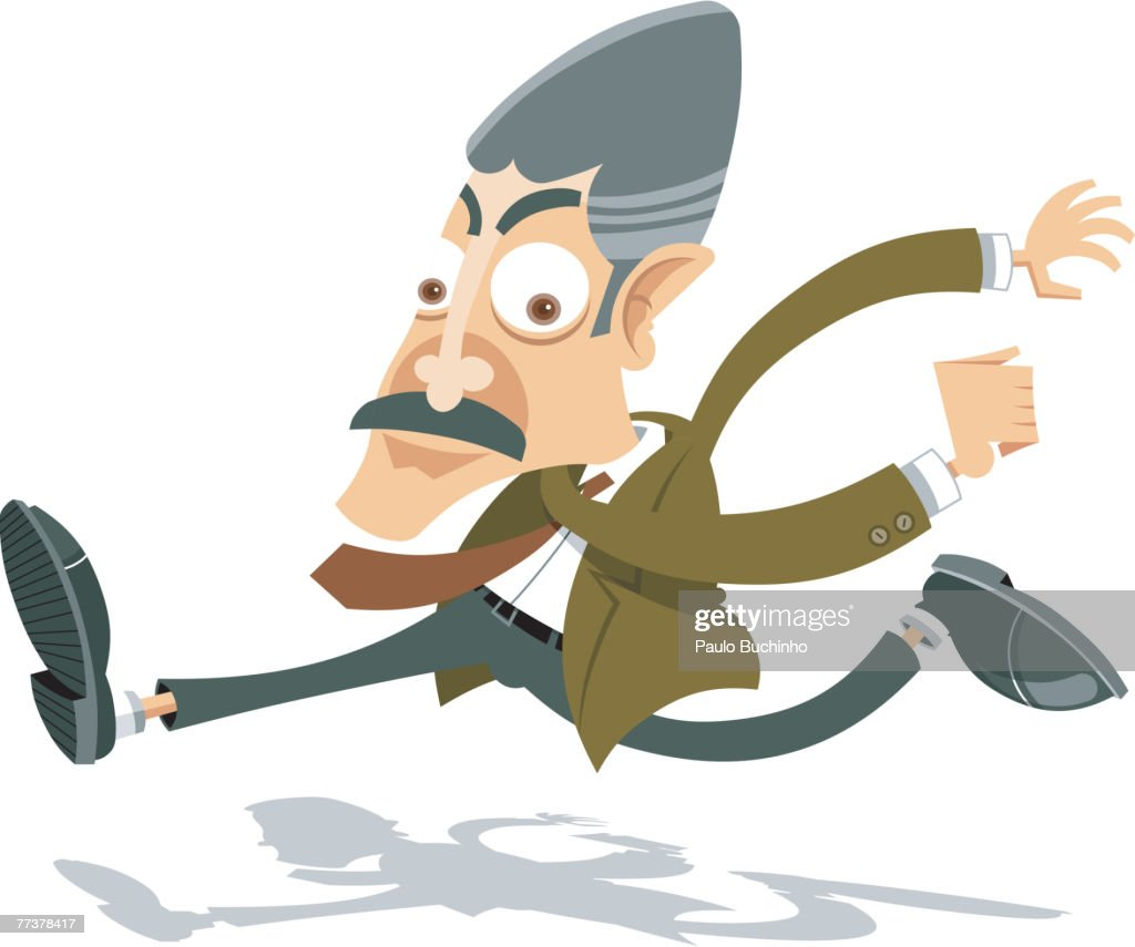 An illustration of a businessman in a hurry : Illustration