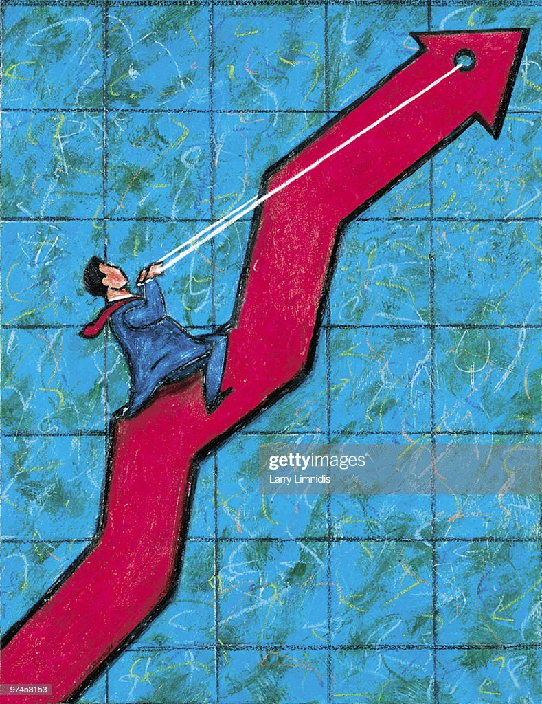 An illustration of a businessman riding a graph on its way up : stock illustration
