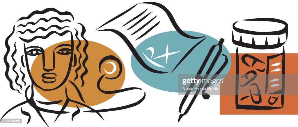 An illustration of a doctor prescribing drugs : Illustration