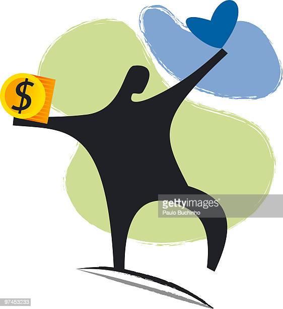 ilustrações de stock, clip art, desenhos animados e ícones de an illustration of a figure holding a heart in one hand and a dollar symbol in the other - buchinho