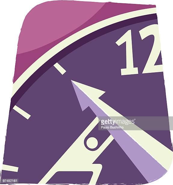 ilustrações de stock, clip art, desenhos animados e ícones de an illustration of a figure pushing the arm of a clock up towards twelve - buchinho