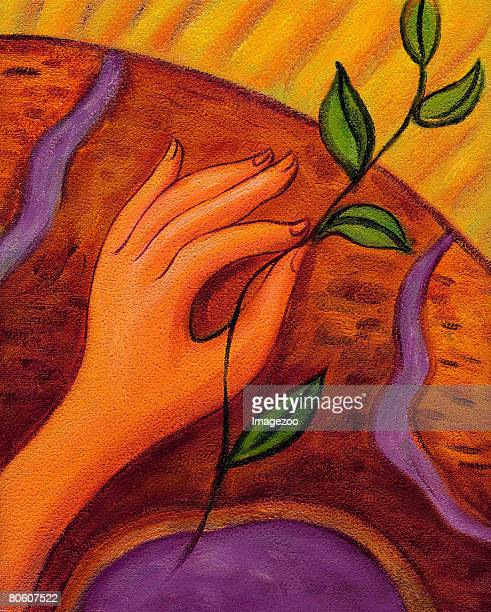 an illustration of a hand holding a seedling - plant stage stock illustrations, clip art, cartoons, & icons