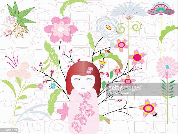 an illustration of a japanese style doll with an array of different flowers in the background - only japanese stock illustrations, clip art, cartoons, & icons