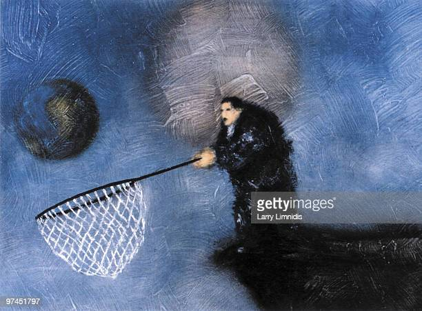 An illustration of a man catching a world globe in a net