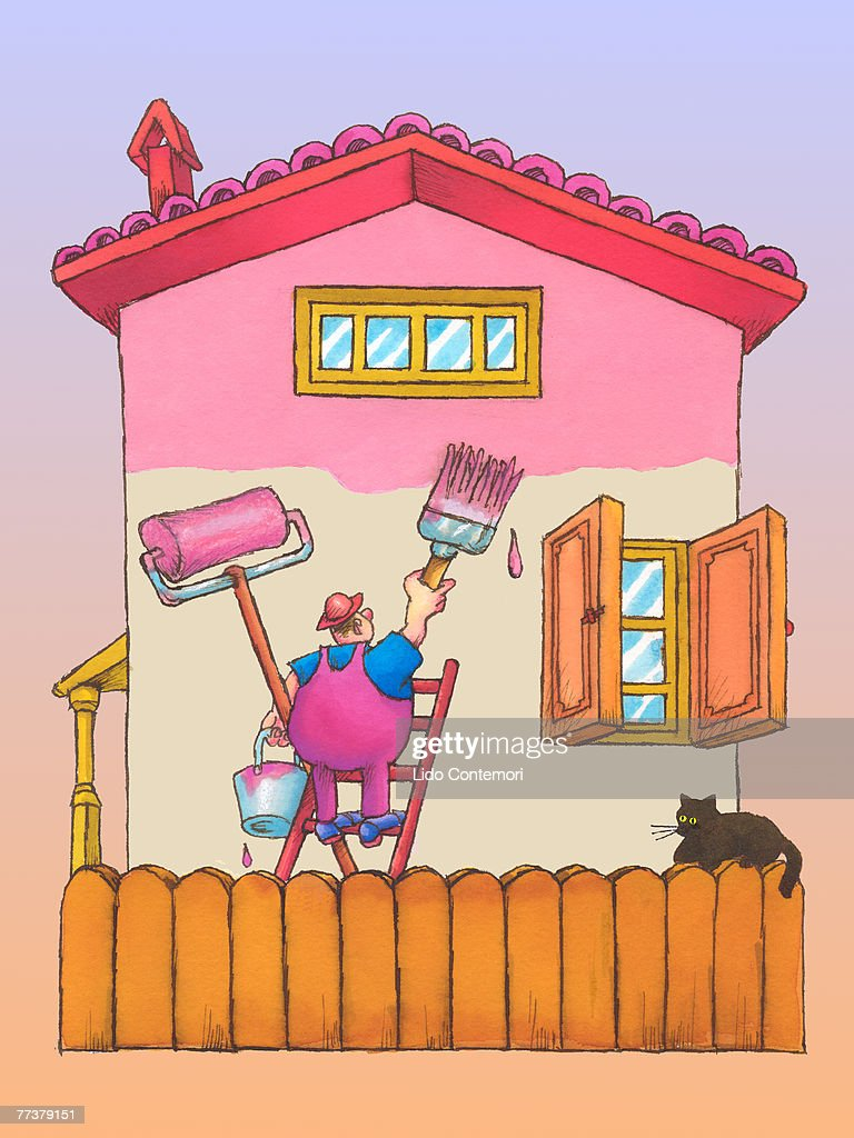 An Illustration Of A Man Painting A House Stock Illustration - Getty