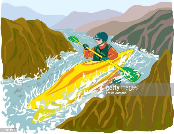 an illustration of a man whitewater kayaking in extreme conditions - rapid stock illustrations