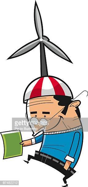 ilustrações de stock, clip art, desenhos animados e ícones de an illustration of a man with a large wind turbine on his hat - buchinho