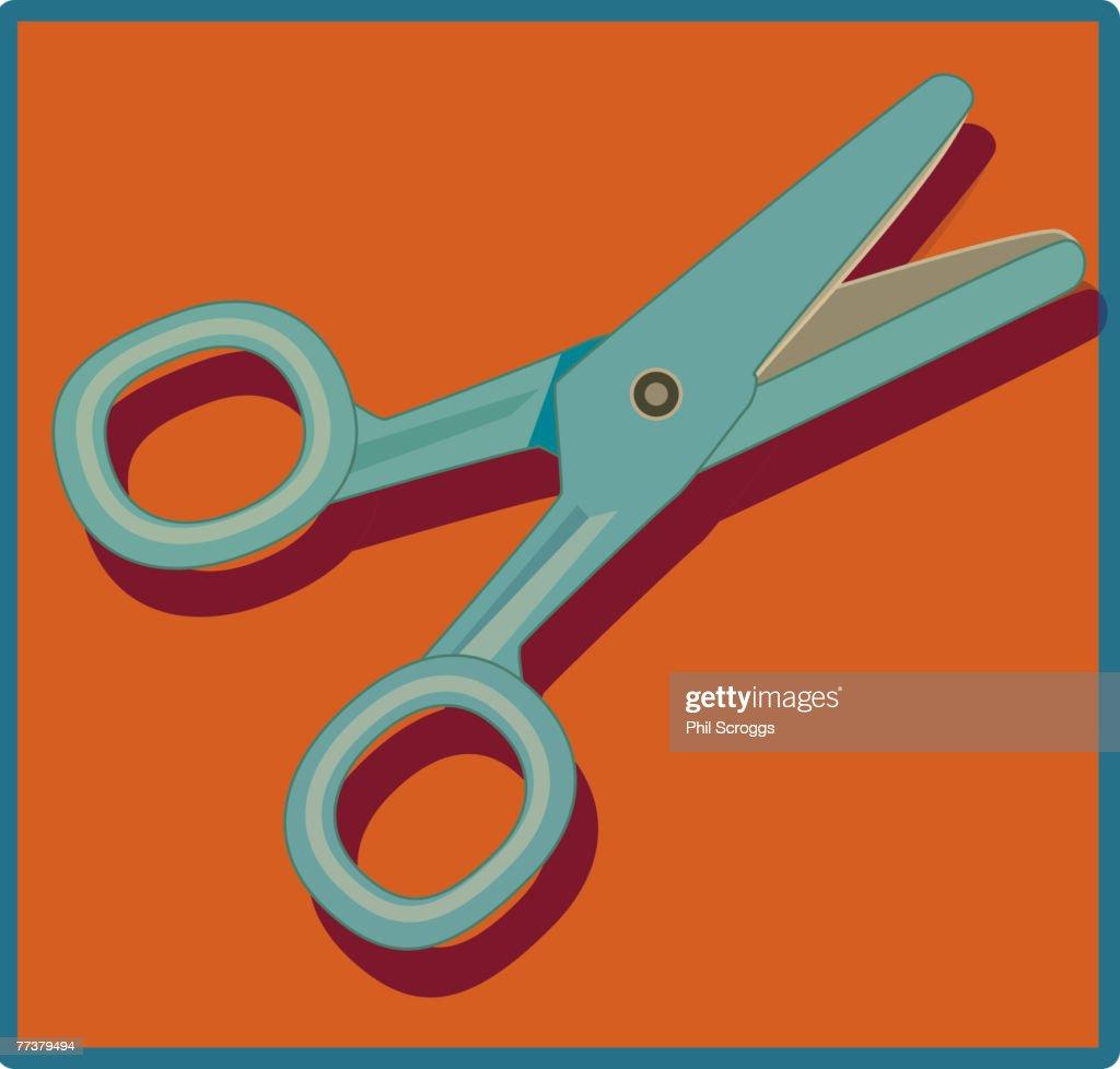 An illustration of a pair of scissors : Ilustração de stock