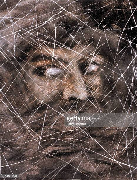 An illustration of a persons face mostly covered in fabric apart from their eyes