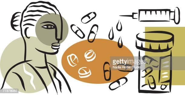 An illustration of a pharmacist and prescription drugs