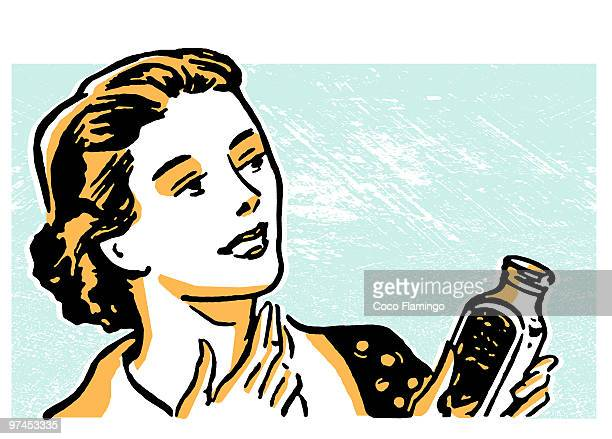 an illustration of a woman fixing her cough - tiziano vecellio stock illustrations, clip art, cartoons, & icons