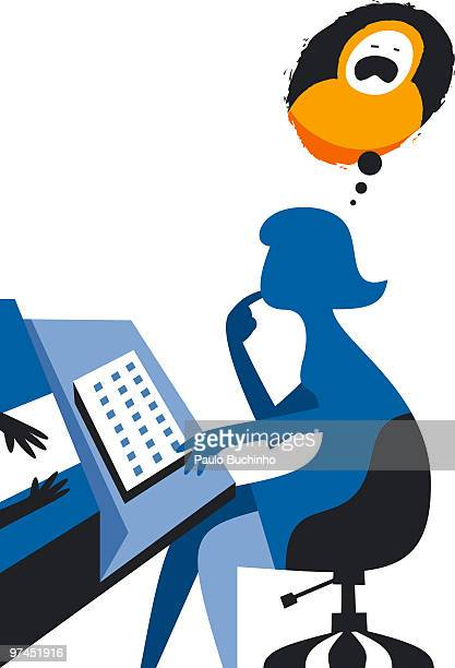 ilustrações de stock, clip art, desenhos animados e ícones de an illustration of a woman sitting at a work desk with a thought bubble above and a baby crying - buchinho