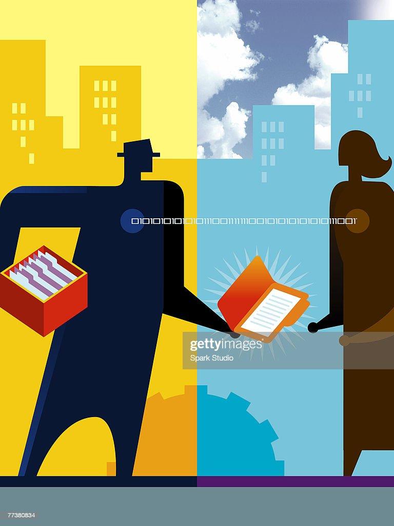 An illustration of computer file sharing : Illustration