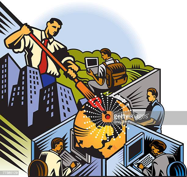 An illustration of employees working around the globe