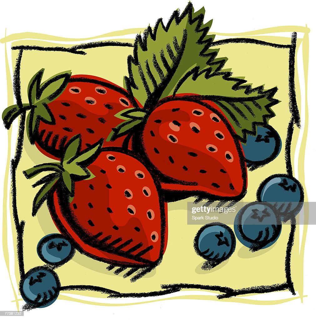 An illustration of fresh strawberries and blueberries : Illustration