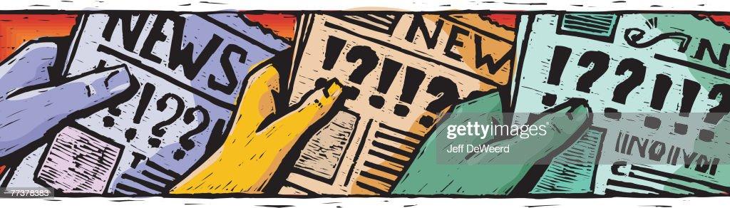 An illustration of hands holding newspaper : ストックイラストレーション