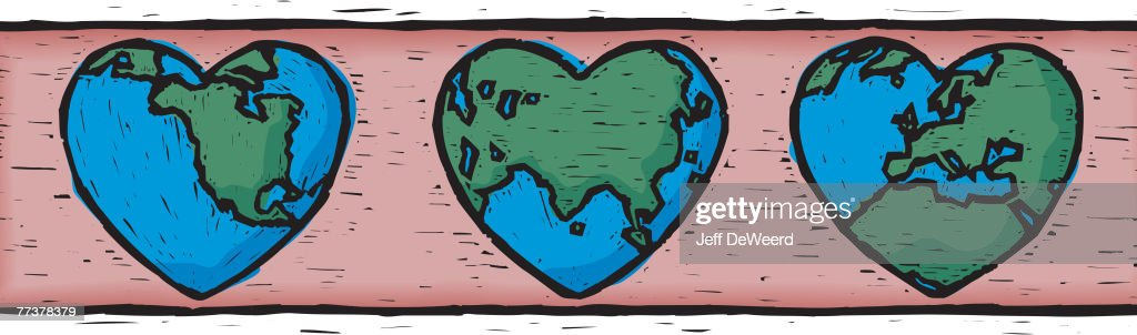 An illustration of heart shaped earth : Stock Illustration