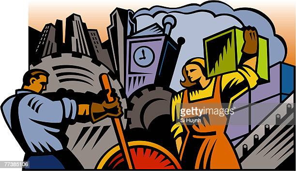 ilustrações, clipart, desenhos animados e ícones de an illustration of laborers at work - smoke physical structure