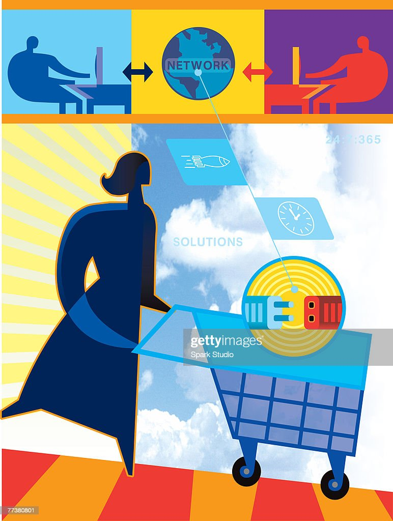 An illustration of online shopping aided by network solutions : Illustration