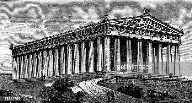 An illustration of Parthenon in black and white