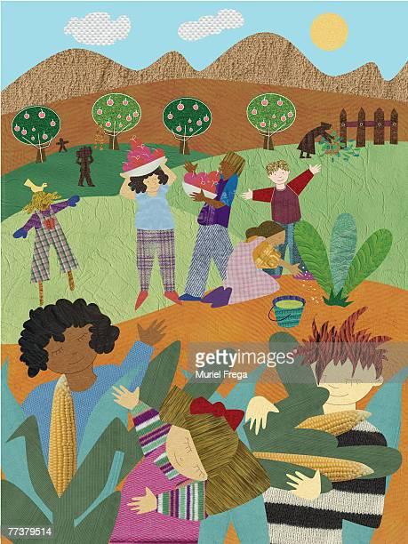 an illustration of people harvesting food - husk stock illustrations, clip art, cartoons, & icons