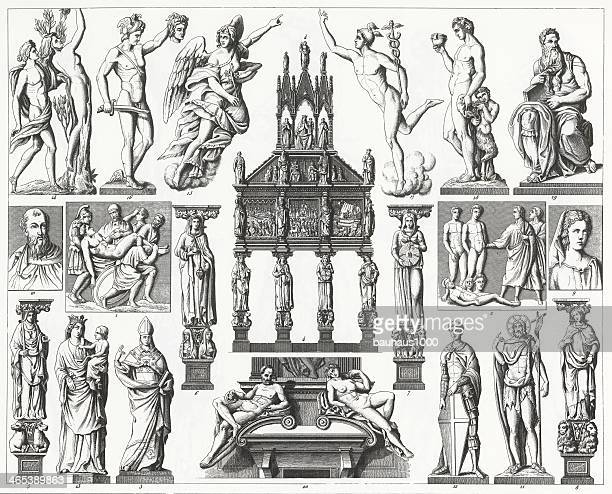 stockillustraties, clipart, cartoons en iconen met an illustration of renaissance sculpture from 1851. - classical greek style