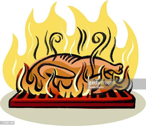 ilustraciones, imágenes clip art, dibujos animados e iconos de stock de an illustration of roasting chicken - pollo asado