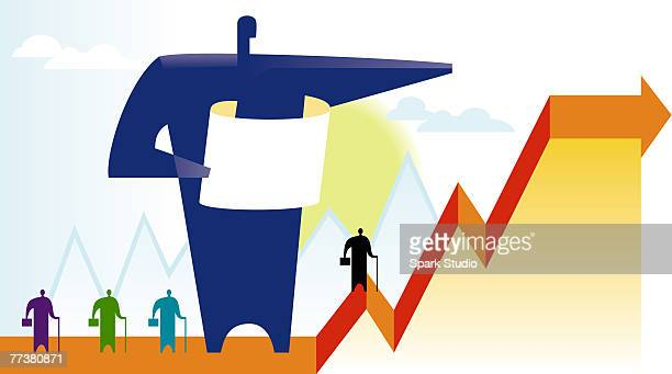 an illustration of sales growth - cash flow stock illustrations, clip art, cartoons, & icons