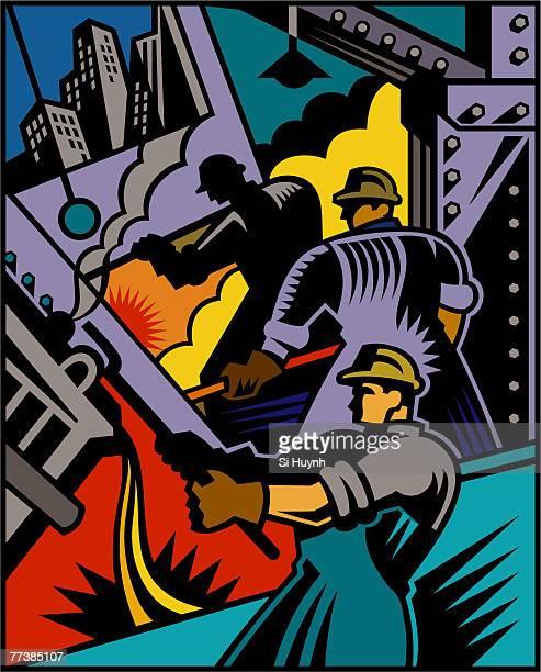 ilustrações, clipart, desenhos animados e ícones de an illustration of skilled workers - smoke physical structure