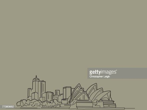 an illustration of the sydery opera house - sydney opera house stock illustrations