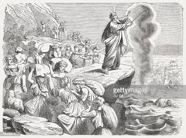 ビクトリーは、紅海(exodus 14 、27 ~29 日) - 宗教的人物 モーゼ点のイラスト素材/クリップアート素材/マンガ素材/アイコン素材