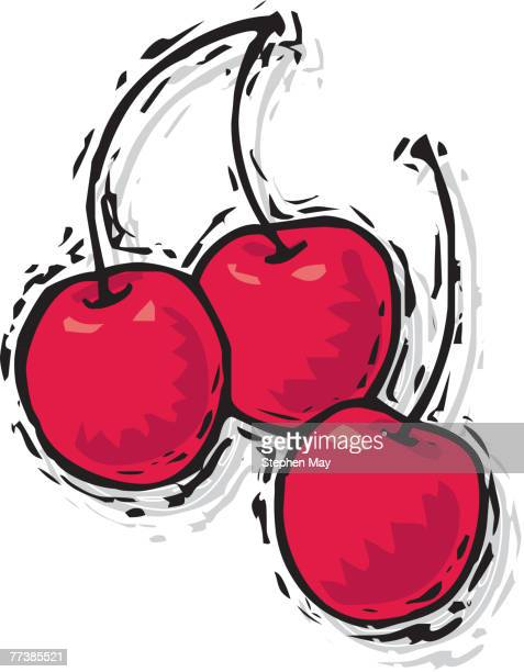 an illustration of three cherries - natural condition stock illustrations, clip art, cartoons, & icons