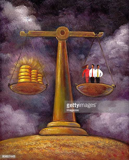 an illustration of three people standing on a scale being balanced by money - cash flow stock illustrations, clip art, cartoons, & icons