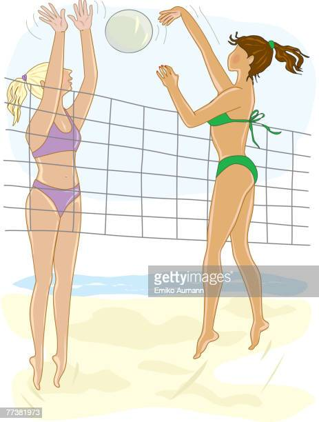 ilustraciones, imágenes clip art, dibujos animados e iconos de stock de an illustration of two women playing beach volleyball - vóleibol de playa