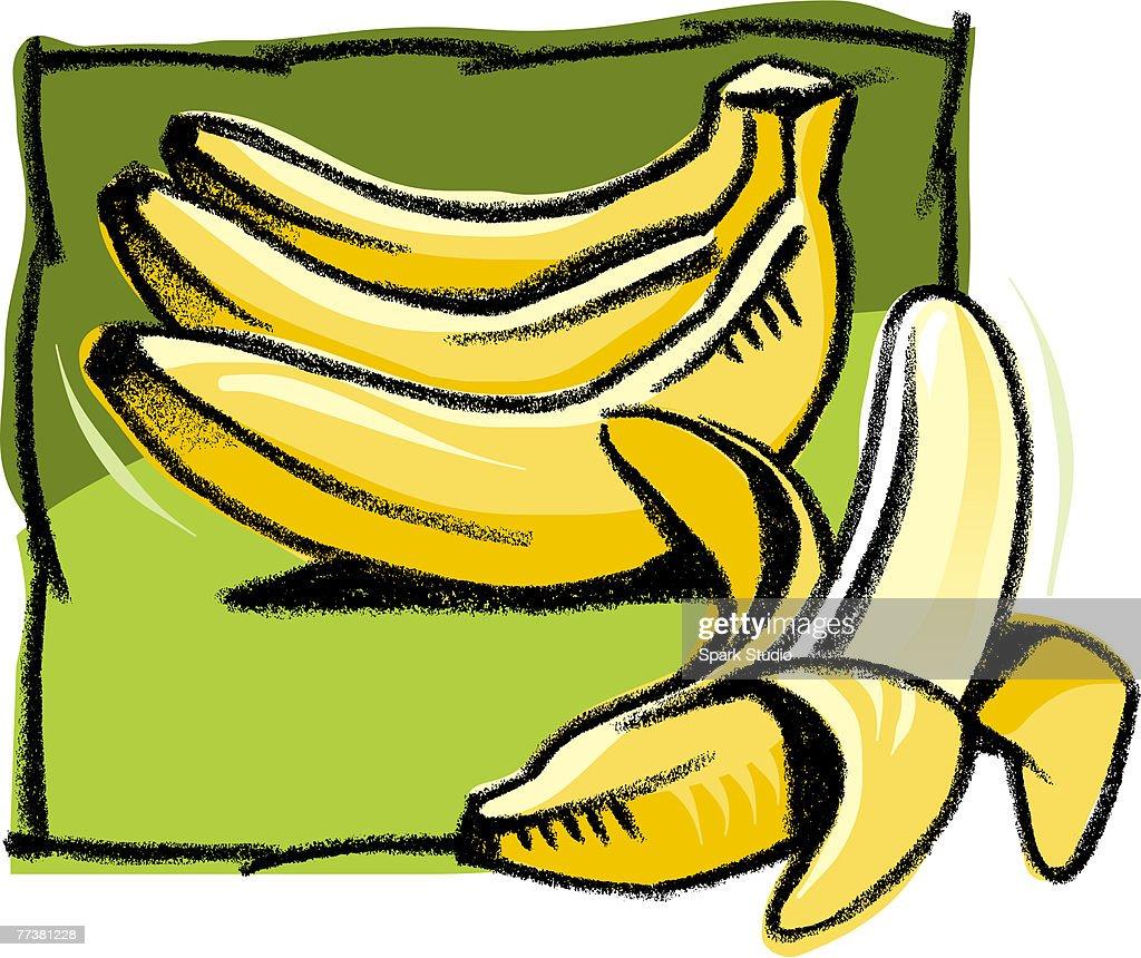 An illustration ofa peeled banana : Illustration