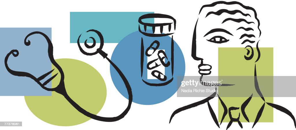 An illustration showing a physician, prescription drugs and a stethoscope : Illustrazione stock