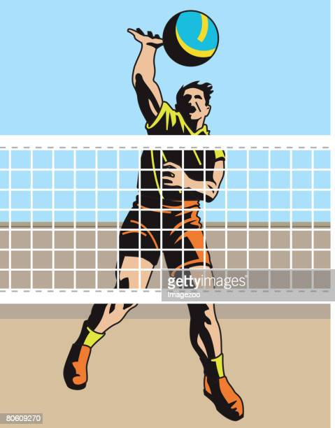 ilustraciones, imágenes clip art, dibujos animados e iconos de stock de an image of a man spiking a volleyball - vóleibol de playa