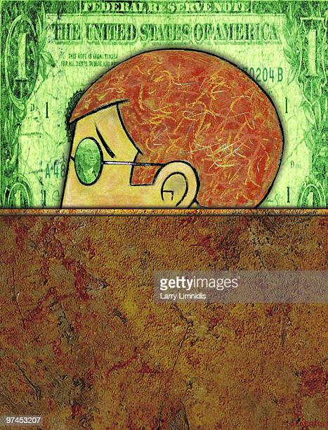 an image of a mans head with a dollar bill in the background - american one dollar bill stock illustrations, clip art, cartoons, & icons