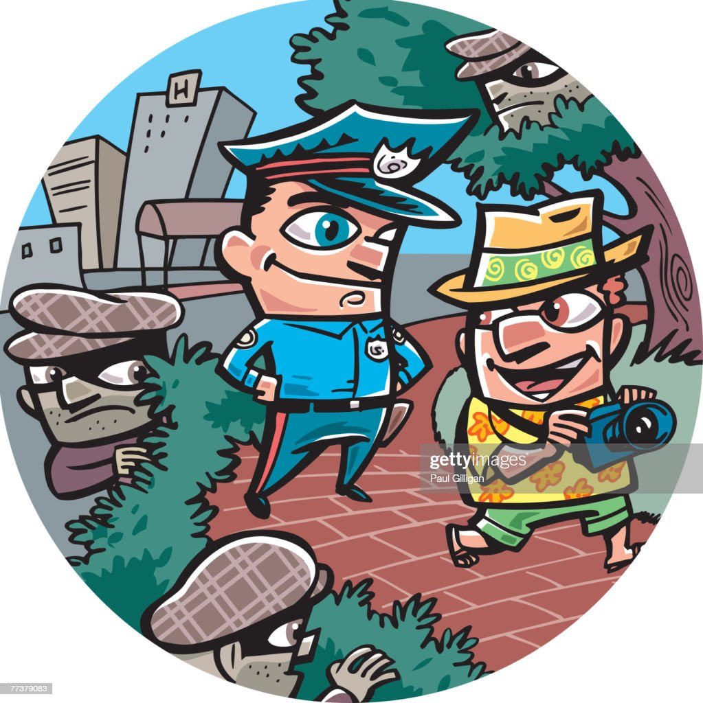An oblivious tourist being watched by thieves and a policeman : Illustration